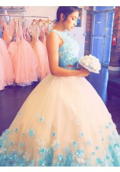 Two Piece Ball Gown Round Neck Turquoise Tulle Quinceanera Dress with Appliques
