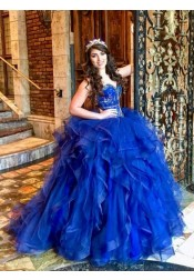 Ball Gown Sweetheart Royal Blue Tulle Quinceanera Dress with Beading