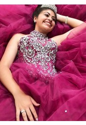 Ball Gown Jewel Fuchsia Tiered Tulle Quinceanera Dress with Beading