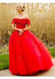 Ball Gown Long Red Tulle Quinceanera Dress with Ruffles Beading