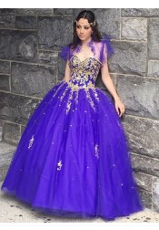 Ball Gown Sweetheart Grape Tulle Quinceanera Dress with Appliques Wraps