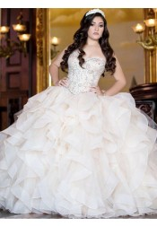 Ball Gown Sweetheart Tiered Light Champagne Quinceanera Dress with Beading