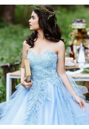 Ball Gown Sweetheart Blue Satin Quinceanera Dress with Appliques Beading