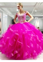 Ball Gown Scoop Asymmetry Fuchsia Quinceanera Dress with Beading