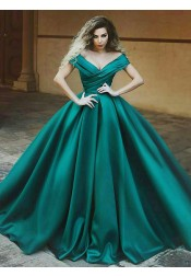 Ball Gown Off-the-Shoulder Pleated Dark Green Satin Quinceanera Dress