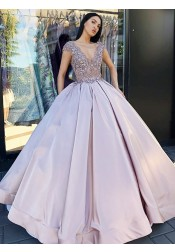 Ball Gown V-Neck Floor Length Blush Satin Quinceanera Dress with Lace Beading