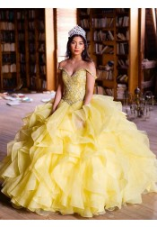 Ball Gown Off-the-Shoulder Floor Length Yellow Tulle Quinceanera Dress with Beading