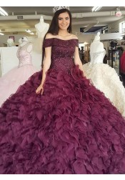 Ball Gown Off-the-Shoulder Burgundy Organza Quinceanera Dress with Beading