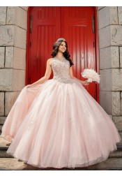 Ball Gown Bateau Floor Length Pink Tulle Bridesmaid Dress with Beading