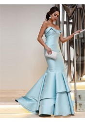 Mermaid Sweetheart Sleeveless Sweep Train Light Blue Satin Prom Dress