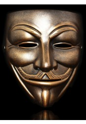 Classic V for Vendetta Mask White / Bronze Resin Halloween Mask