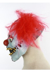 Terrific Toothy Red Hair Latex Clown Full Mask Halloween Party