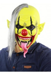 Horror Halloween Mask Grey Hair Green Face Latex Clown Full Mask Halloween Party