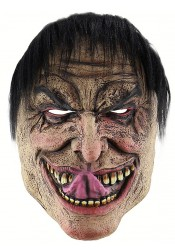 Creepy Halloween Masks Latex Face Halloween Mask with Black Hair