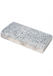 Silver Beaded Closure Clutch Purse