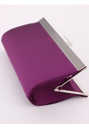 Purple Satin Closure Clutch Purse