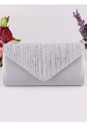 Gray Beaded Envelop Clutch Bags