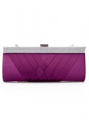 Purple Closure Beaded Chain Clutch Purse