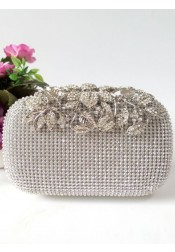 Gold Closure Beaded Flower Box Clutch