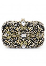 Pearl Closure Beaded Drop in Chain Clutch
