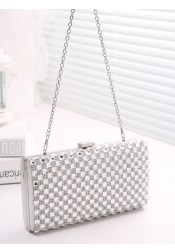 Silver Crystal Chain Single-Shoulder Clutch Bag
