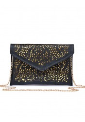 White Beaded Hollw-Out Envelop Chian Clutch