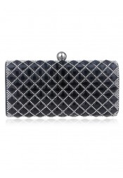 Black Closure Beaded Box Clutch Bag