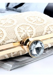 White Closure Lace Single-Shoulder Clutch Bag