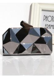 Black Geometry Pattern Box Chian Clutch