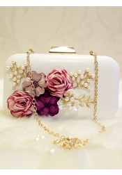 White Closure Box Chain Clutch with Flower Pearl