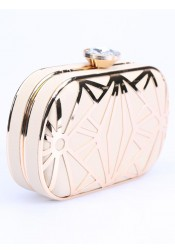 White Closure Hollow-Out Box Clutch Bag