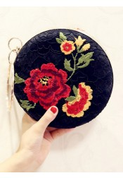 Detachable Strap Black Embroidery Clutch Bag