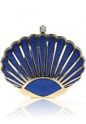 Chain Strap Shell Shape Royal Blue Clutch Bag