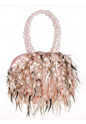 Pink Handbag with Imitation Pearls Beading