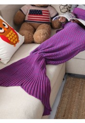 Pure Handmade Wool Purple Knitted Blanket Blue Mermaid Tail Blanket Sofa Blanket