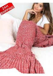 Super Soft Red Mermaid Tail Blanket Crocheted Blanket