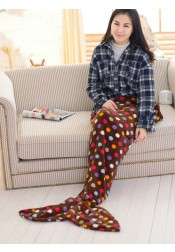 Soft Dot Brown Sofa Leisure Blanket Mermaid Tail Blanket