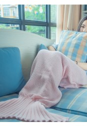 Cute Purple / Pink Cotton Mermaid Tail Blanket Knitted Sofa Blanket