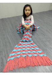 Fashion Red-Blue Kniting Mermaid Blanket Sleeping Bag with Tassel