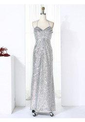 Sheath Halter Floor-Length Silver Ruched Sequined Bridesmaid Dress