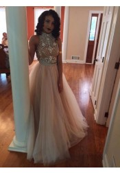 A-Line High Neck Champagne Backless Tulle Two Piece Prom Dress with Rhinestone