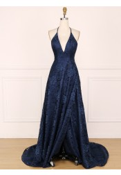 Elegant Halter Sleeveless Split Sweep Train Navy Blue Lace Sweep Train Prom Evening Dress