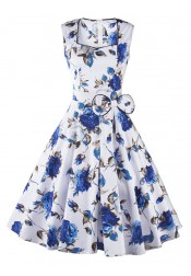 Suqare Blue 50s Floral Print Retro Style Dress with Bow