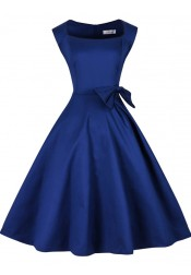 Royal Blue Bateau Solid 50s Vintage Dress with Bowknot