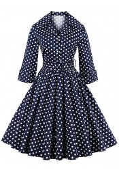 50s Navy Blue Stand Collar Polka Dots Retro Dress