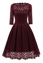 Burgundy Round Neck 3/4 Sleeves Lace Vintage Dress