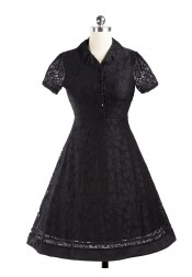 Lace V-Neck Short Sleeves Black Lace 50S Vintage Dress