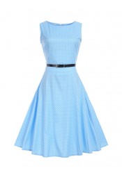 Polka Dots Round Neck Blue 50S Vintage Dress