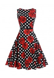 Floral Polka Dots Round Neck Black and Red Vintage Dress