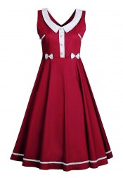 Peter Pans Collar Bow Burgundy Plus Size Vintage Dress